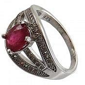 انگشتر نقره یاقوت سرخ طرح ماهرخ زنانه