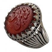 انگشتر نقره عقیق دورچنگ خوش نقش حکاکی یا ضامن آهو مردانه
