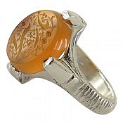 انگشتر نقره عقیق یمن حکاکی یا زهرا چهارچنگ مردانه