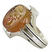 انگشتر نقره عقیق یمن حکاکی یا قوی خوش رنگ مردانه