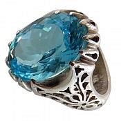 انگشتر نقره توپاز آبی خوش رنگ مردانه