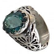 انگشتر نقره توپاز خوش نقش و شاهانه مردانه