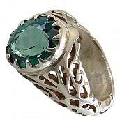 انگشتر نقره توپاز سلطنتی و دورچنگ مردانه
