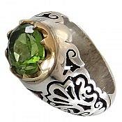 انگشتر نقره زبرجد خوش نقش و خوش رنگ مردانه