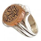 انگشتر نقره عقیق یمن زرد حکاکی الله اکبر مردانه