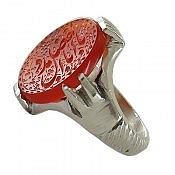 انگشتر نقره عقیق یمن حکاکی یا ابالفضل مدد مردانه