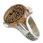 انگشتر نقره عقیق یمن حکاکی هو الله مردانه