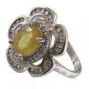 انگشتر نقره یاقوت زرد طرح گل زنانه