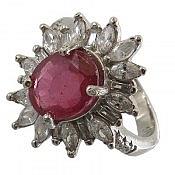 انگشتر نقره یاقوت سرخ خوش رنگ زنانه