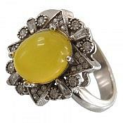 انگشتر نقره عقیق زرد حکاکی شرف الشمس زنانه