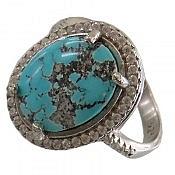 انگشتر نقره فیروزه نیشابوری فاخر و ارزشمند زنانه
