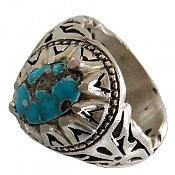 انگشتر نقره فیروزه نیشابوری دورچنگ شاهانه مردانه
