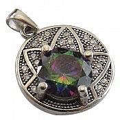 مدال نقره توپاز هفت رنگ جذاب زنانه