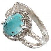 انگشتر نقره فیروزه نیشابوری زیبا و ارزشمند زنانه