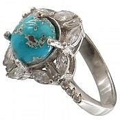 انگشتر نقره فیروزه نیشابوری ارزشمند زنانه