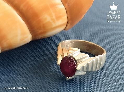 انگشتر نقره یاقوت آفریقایی خوش رنگ مردانه دست ساز - 30008