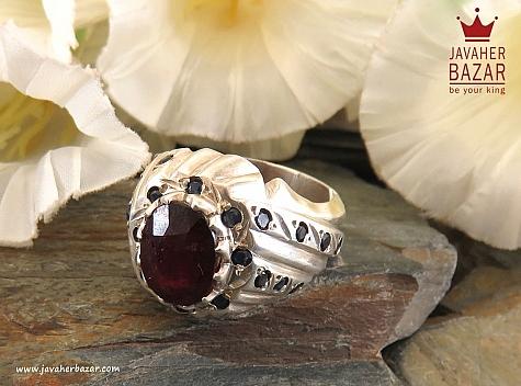 انگشتر نقره یاقوت آفریقایی سلطنتی مردانه دست ساز - 30009