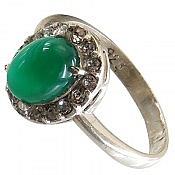 انگشتر نقره عقیق سبز خوش رنگ زنانه