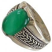 انگشتر نقره عقیق سبز خوش نقش و فاخر مردانه