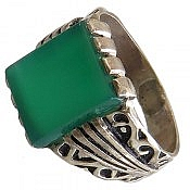 انگشتر نقره عقیق سبز خوش رنگ مردانه