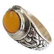 انگشتر نقره عقیق صفوی زرد حکاکی شرف الشمس مردانه