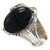 انگشتر نقره عقیق سیاه طرح رحمان مردانه