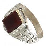 انگشتر نقره عقیق طرح سنتی مردانه