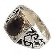 انگشتر نقره اپال آتشین و برلیان اصل شاهانه مردانه