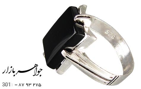 انگشتر نقره عقیق سیاه طرح سیاه قلم - 301