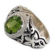 انگشتر نقره زبرجد سبز خوش رنگ و شاهانه مردانه