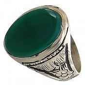انگشتر نقره عقیق سبز طرح سلمان مردانه