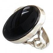 انگشتر نقره عقیق سیاه و درشت مردانه
