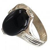 انگشتر نقره عقیق سیاه و چهار چنگ مردانه