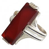 انگشتر نقره عقیق قرمز چهار چنگ مردانه