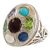انگشتر نقره چندنگین درشت و زیبا مردانه