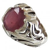 انگشتر نقره یاقوت سرخ مرغوب شاهانه مردانه