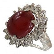 انگشتر نقره عقیق قرمز خوش رنگ و جذاب زنانه