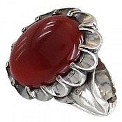 انگشتر نقره عقیق قرمز دورچنگ مردانه