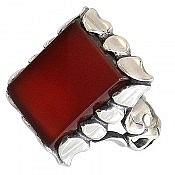 انگشتر نقره عقیق قرمز خوش رنگ مردانه