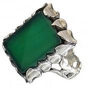 انگشتر نقره عقیق سبز دورچنگ مردانه
