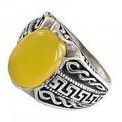 انگشتر نقره عقیق زرد حکاکی شرف الشمس خوش نقش مردانه