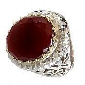 انگشتر نقره عقیق یمن الماس تراش طرح سلطنتی مردانه