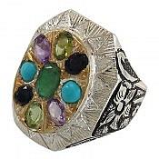 انگشتر نقره آمتیست زبرجد زمرد فیروزه یاقوت شاهانه مردانه