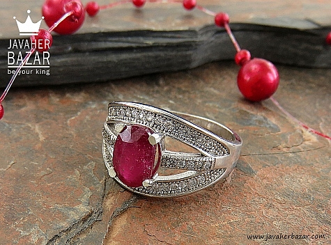 انگشتر نقره یاقوت زیبا طرح خاتون زنانه - 30340