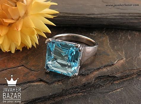 انگشتر نقره توپاز خوش رنگ زنانه - 30349