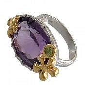 انگشتر نقره آمتیست زبرجد خوش رنگ طرح صفوی زنانه