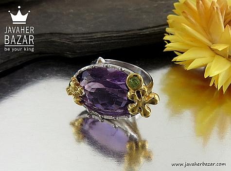 انگشتر نقره آمتیست زبرجد خوش رنگ طرح صفوی زنانه - 30359