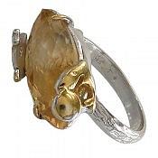 انگشتر نقره سیترین طرح صفوی و ارزشمند زنانه
