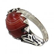 انگشتر نقره عقیق قرمز طرح صفوی مردانه