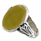 انگشتر نقره عقیق زرد حکاکی شرف الشمس مردانه